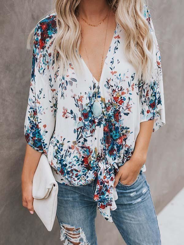 Fashion Wild Digital Print Strap V Neck Top Short Sleeve Chiffon Top Women Floral Blouse Blouses For Women