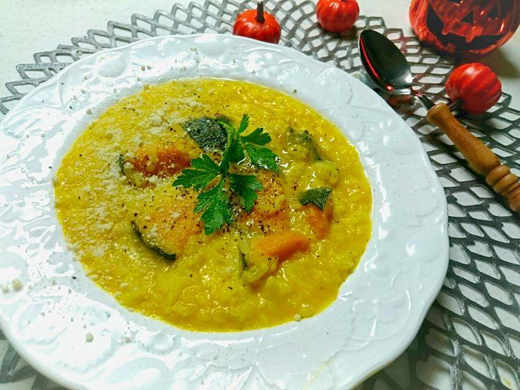 sakurako's dish photo ひと鍋で あっという間 ゴロゴロかぼちゃとチーズのリゾット  ー | http://snapdish.co #SnapDish #レシピ #ハロウィン #簡単料理 #リゾット/雑炊 #チーズ #食べられる植物フォトコン
