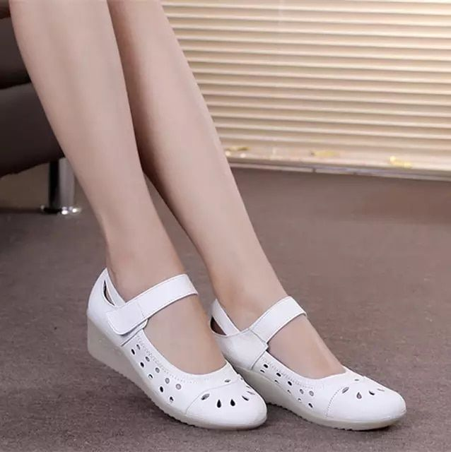 63d60d9ef4f Online Shop Summer sandals white hollow out wedges leather ...