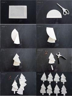 Anleitung für die Bäumchen aus alten Buchseiten... #Tutorial... #christmas #paper folding