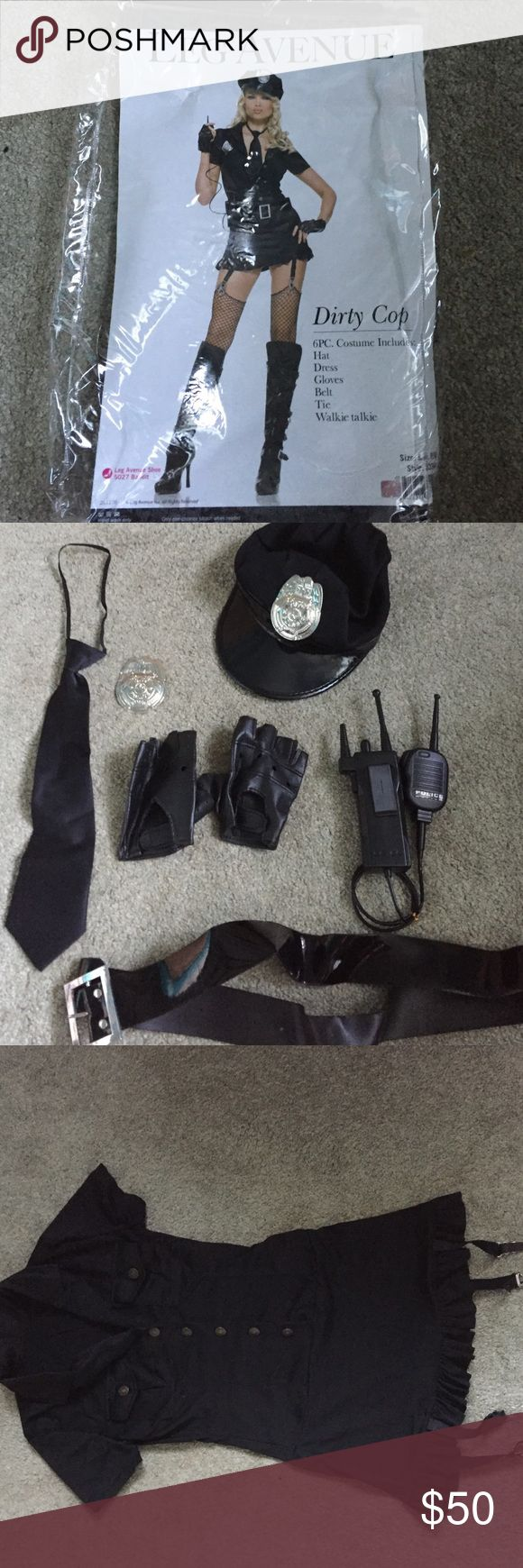 Leg Avenue Dirty Cop Halloween Costume This set includes dress, hat, gloves, belt, tie, and walkie talkie. this is perfect for a frat party or a night on the town. This costume is a size S/M and has only been worn once. (Boots not included). The dress also had garter spots to add stockings or whatever leg avenue Other