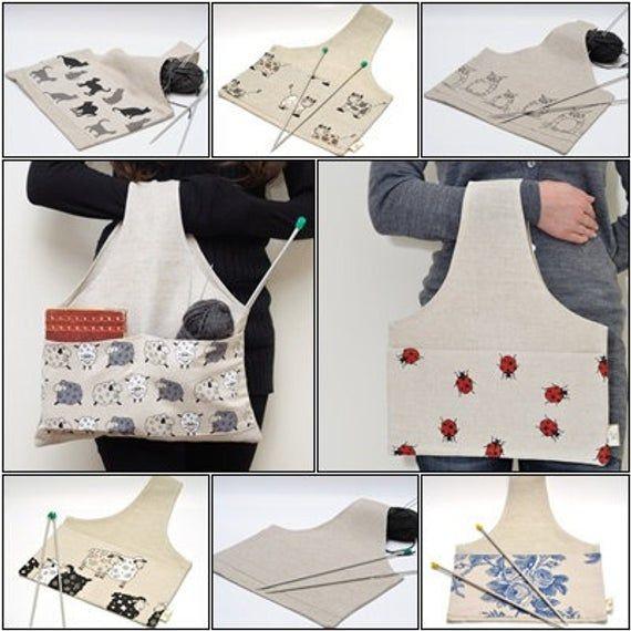 Große Projekttasche. Spezielles Design von KnitterBag. Job in Bearbeitung. Geschenk für Knitter
