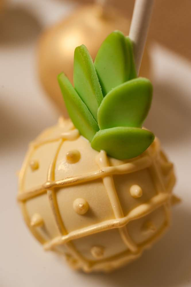 Cute cake pops at a pineapple crush bridal shower party! See more party planning ideas at CatchMyParty.com!