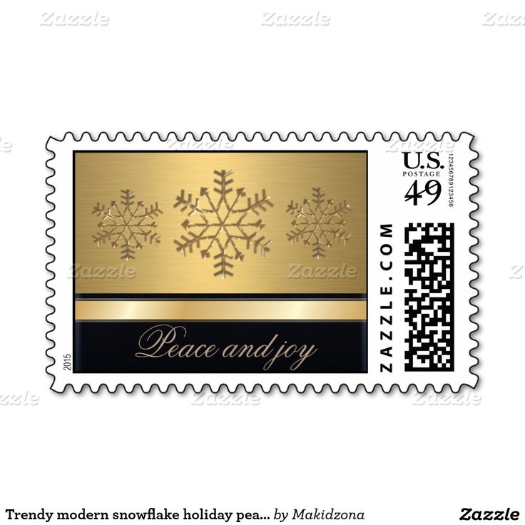 Trendy modern snowflake holiday peace and joy gold postage stamp