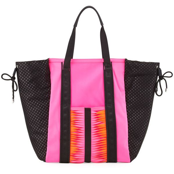 GX by Gwen Stefani Ida Neoprene Tote Bag (84 CAD) ❤ liked on Polyvore featuring bags, handbags, tote bags, pink neopr, zip tote, pink purse, pink tote bag, drawstring tote and pink tote purse