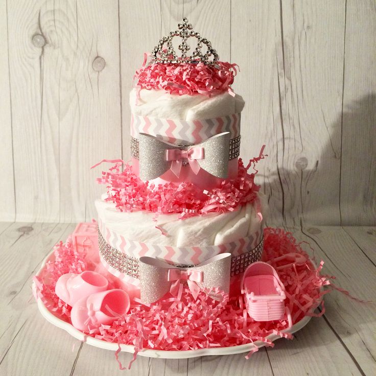 Pink & Gray Chevron Small Diaper Cake Centerpiece with Rhinestones