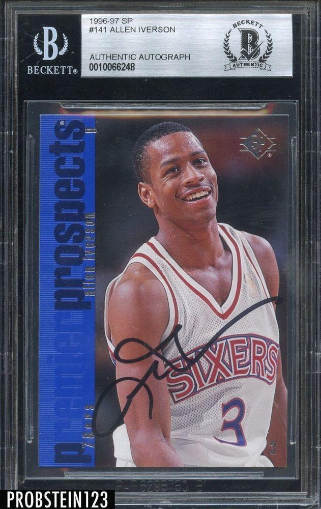 3d6c70b81 1996-97 SP  141 Allen Iverson RC Rookie HOF Signed BGS BAS Beckett AUTO  76ers  BasketballCards
