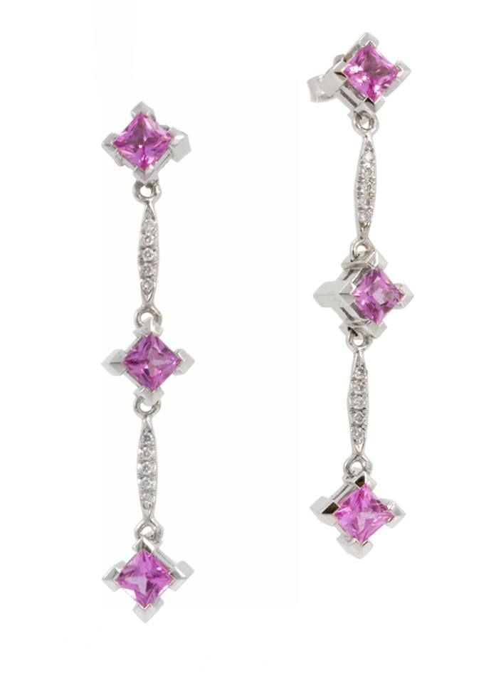 The matching earrings are nothing short of stunning! This beautiful 18k set features 1.94cts of pink sapphires and 0.09cts of accent diamonds. Wouldn't this set be perfect for her October birthday? www.gembycarati.com www.facebook.com/gembycarati