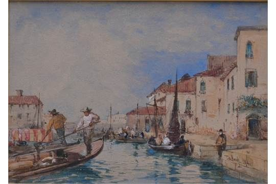 THOMAS BUSH HARDY Venice, near the Campo Marte Watercolour Signed and dated 1884 12.5 x 17.5cm