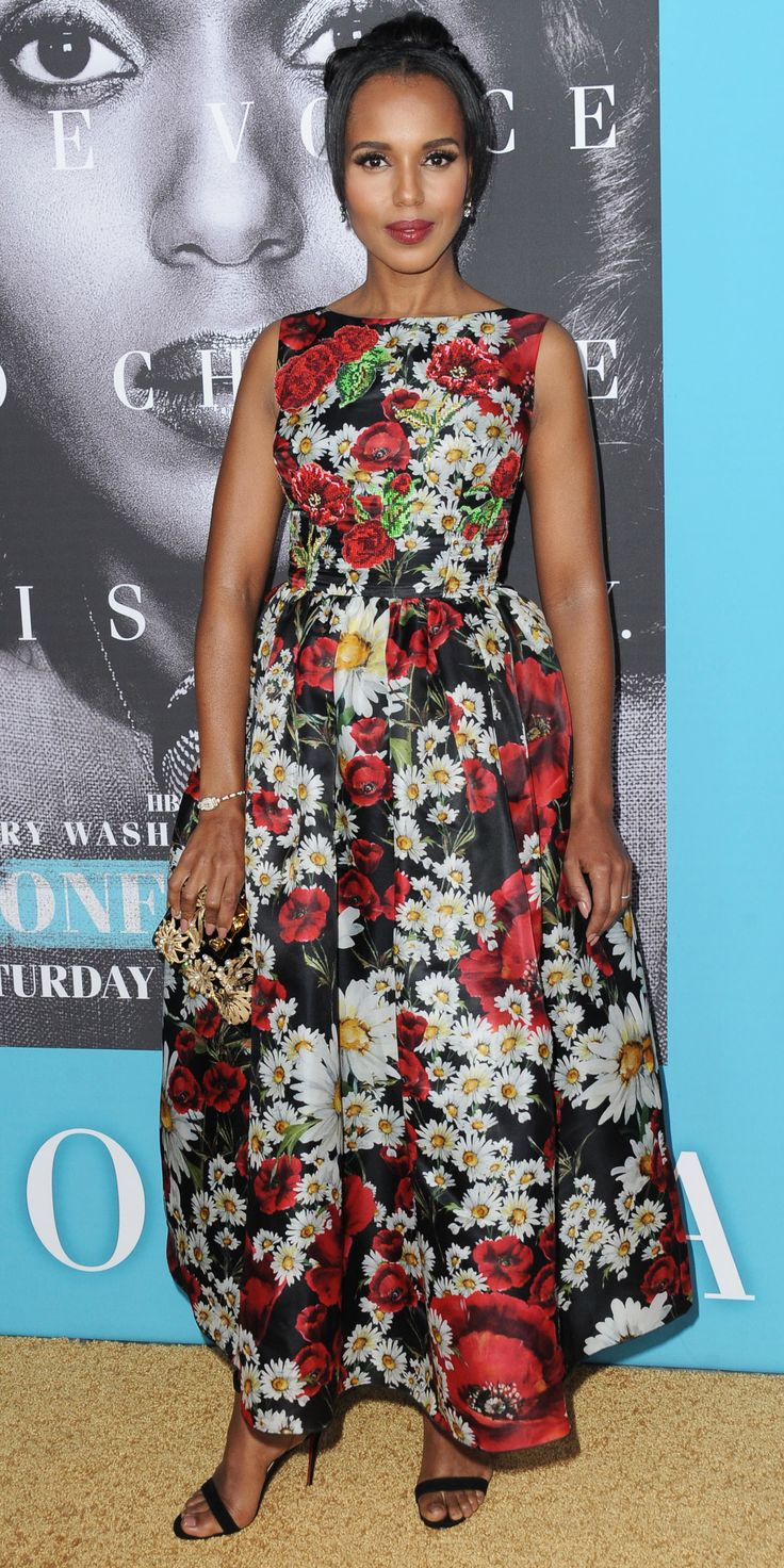 Kerry washington white dress with black applique