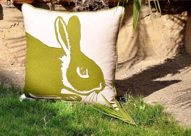 Embroidered Patch work cushion ..   Design : Rabbit