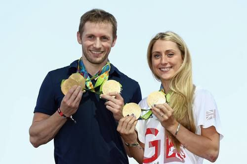 Team GB cyclists Laura Trott and Jason Kenny pose with their gold medals at Adidas House. Rio 2016, Olympics, August 2016