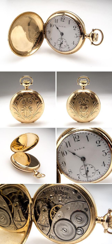 Ladies Antique Elgin Engraved Pocket Watch Highly Detailed 14K Gold -
