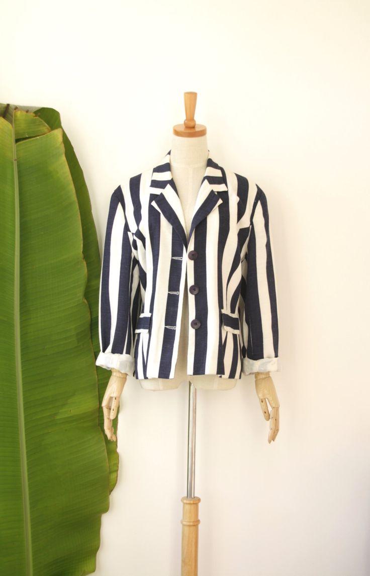 Navy striped linen jacket. Nautical jacket. Womens linen jacket. Striped linen blazer. Vintage Navy blazer by ForestHillTradingCo on Etsy
