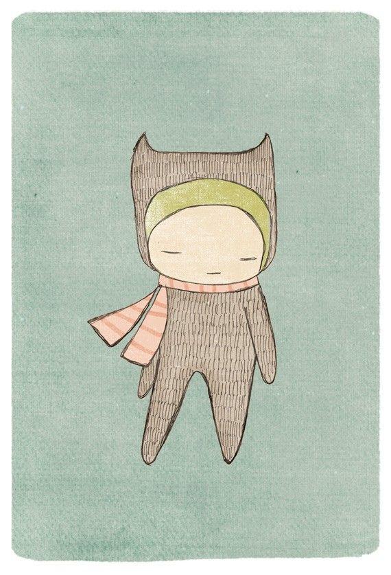 Honeycup on Etsy, Nursery Decor Art, Nursery Decor - Bear Girl Illustration