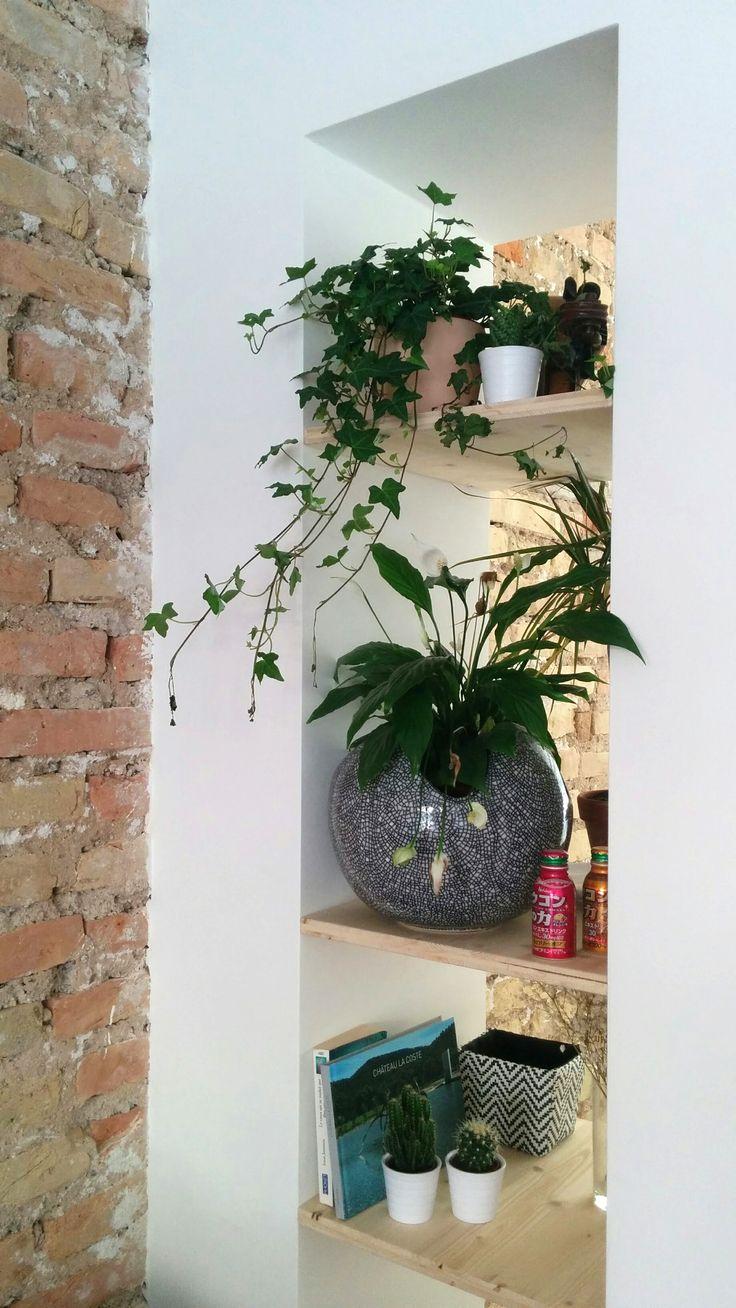 Étagère encastrée entre séjour et salle à manger / mur en briques / briques apparentes / bois / plantes vertes / cactus / bibliothèque / vase