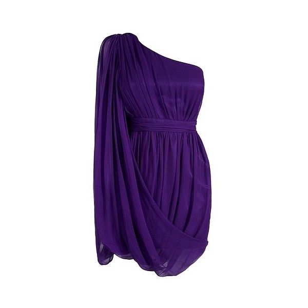 Lipsy One Shoulder Drape Dress (€83) ❤ liked on Polyvore featuring dresses, vestidos, short dresses, robe, women, one shoulder dress, purple dress, purple cocktail dresses, purple mini dress and drape dress