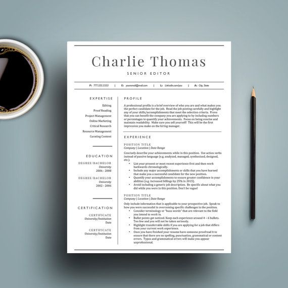 professional resume template for word 1 2 page resumes cover letter included