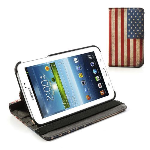 Mesh - Samsung Galaxy Tab 3 7.0 Hoes - Rotatie Cover Amerikaanse Vlag | Shop4TabletHoes