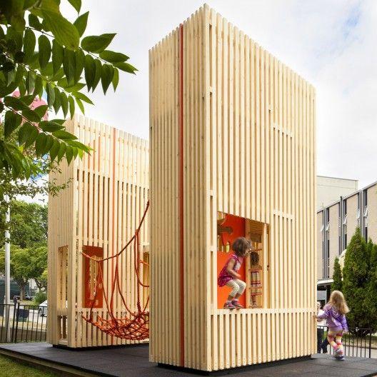 "Vertical Climbing Structure | ""Sam & Pam"" | Architect: McFarlane Biggar Architects & Designers | Photography: © Latreille Delage | Website: Arch Daily"