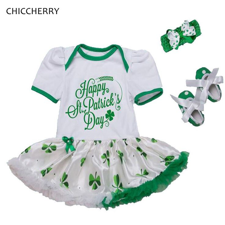 >> Click to Buy << Happy St Patricks Day Outfit Baby Girl Romper Dress Headband Crib Shoes Bebe Party Newborn Tutu Sets Cute Toddler Girl Clothes #Affiliate