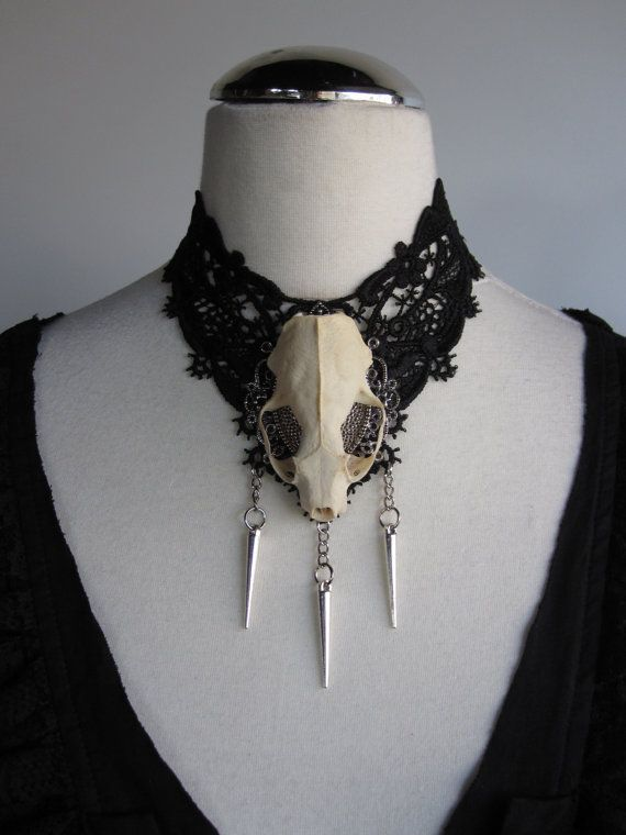 LAST ONE Lace Necklace Choker Real Skull Taxidermy von Ravennixe