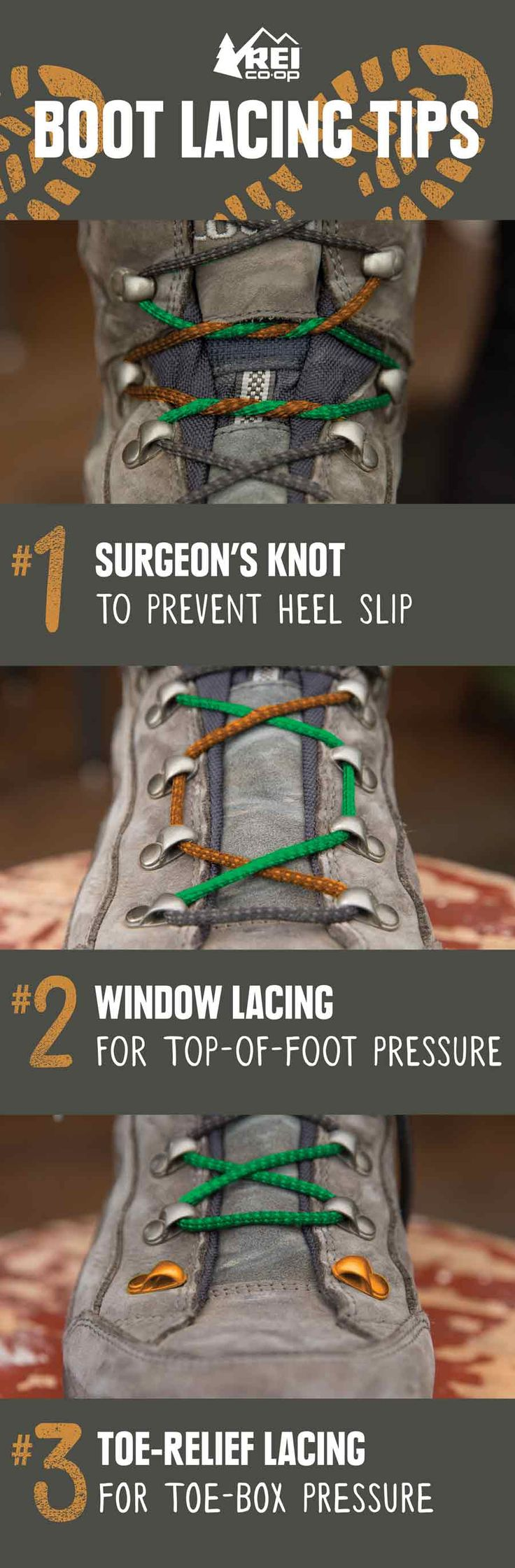 REI Expert Advice: How to Lace Hiking Boots - Three ways to lace your boots to help relieve foot discomfort