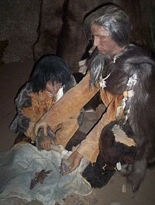 Reconstruction of a Cro-Magnon woman and child