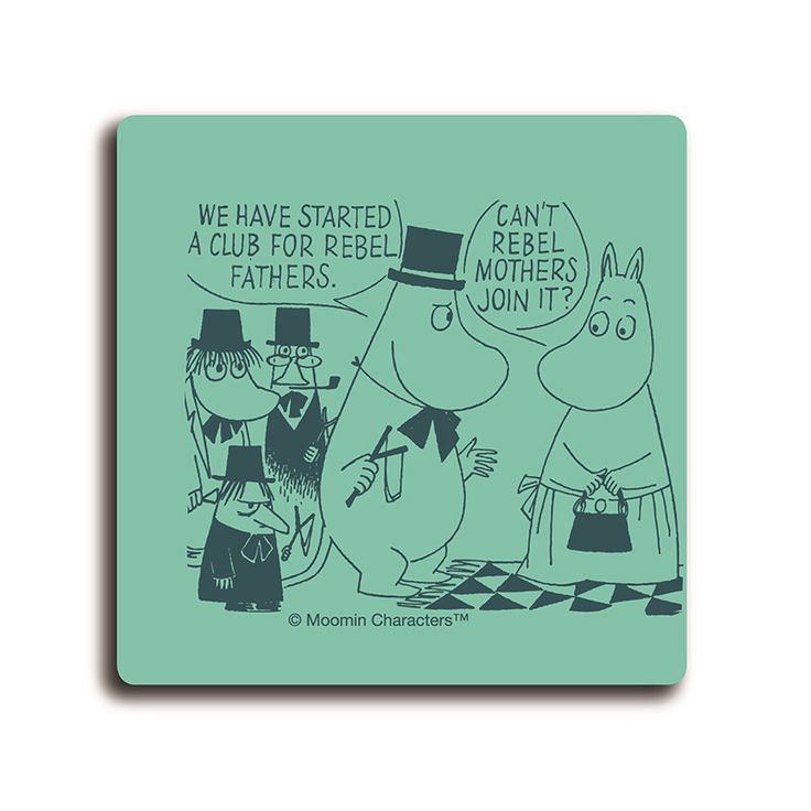 Handmade Moomin coasters with classic motif taken from Tove Jansson's original drawings. High quality wood, made in Sweden. Suitable for dishwasher, 9x9cm. This green coaster features Moominpappa and Moominmamma talking about a rebel club.