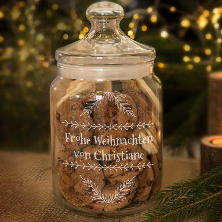 Personalisierbares Keksglas Frohe Weihnachten
