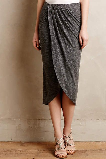 Anthropologie EU Maleo Draped Skirt. We love the low-key glamour of this draped jersey skirt, just the thing to pair with casual camis and bold jewels.