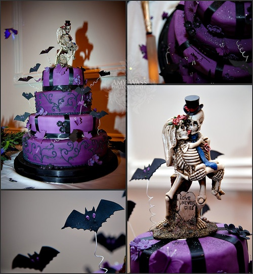 Purple Halloween Wedding Cake. Funny cause this was the same wedding topper
