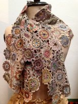 Exquisitely crocheted shawl by renowned French artist