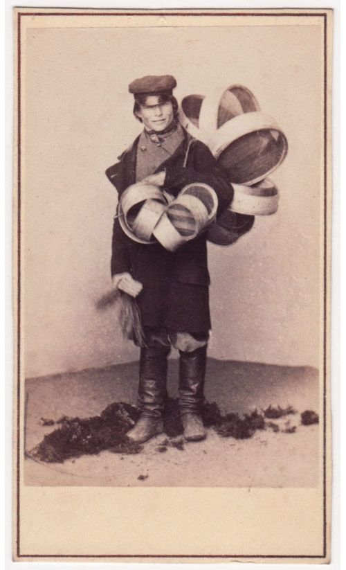 "19th-century Russian sieve dealer, from a gallery of Russian ""types."" Russian knife sharpener, call me."