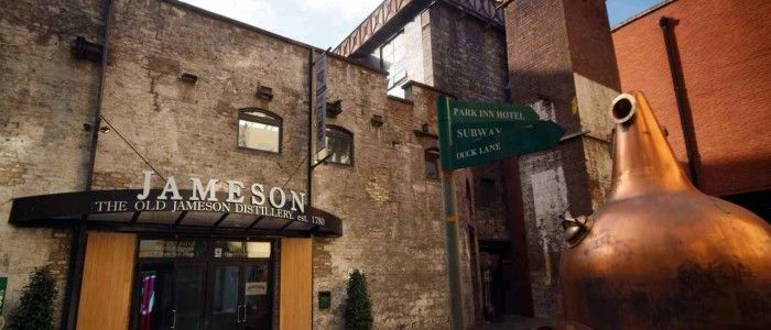 Jameson Distillery Tour. Old Jameson Distillery entrance and courtyard. http://www.ablondeinanairport.com