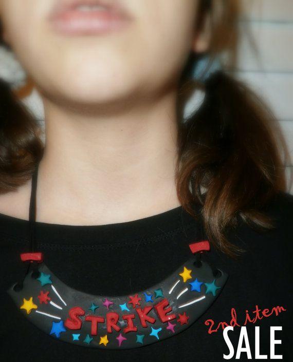 Bowling necklace strike stars bowling jewelry polymer clay bib necklace for girl by Lijoux