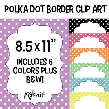 Polka Dot Border Clip Art is yours to download instantly! This classroom download includes 7 different colored polka dot borders surrounding a curvy frame. Perfect for teachers handouts, classroom decor, back 2 school art, or personal designs.All files are high res and come in both color and black & white.---------------------------------------------------------------------------------------Any questions please feel free to ask!Thank you :)*Please note that color may vary depending on com...