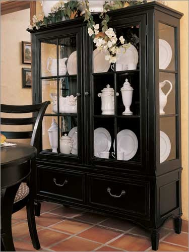 China Cabinets Portofino Basque Black Display Cabinet By Stanley Furniture Dining Room