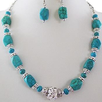 Fashion Necklace & Earring Set-Turquoise