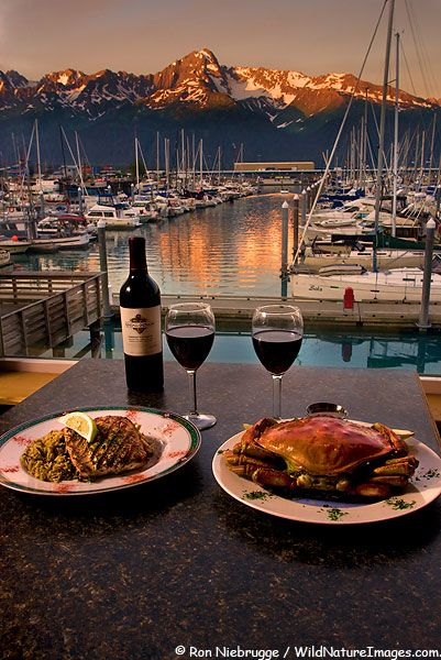 Dining at Chinooks Waterfront Restaurant offers a stunning view of the Seward Boat Harbor and Mt. Alice, Seward, Alaska