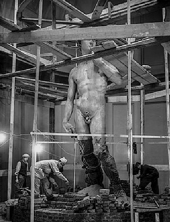 """MICHELANGELO'S DAVID : Created between 1501 and 1504. During WWII, the statue was too massive to be transported out of Florence to safety, so it was hidden behind a newly constructed brick wall. As General Mark Clark (U.S. 5th Army), declared with frustration, fighting in Italy amounted to conducting war """"in a goddamn museum."""""""