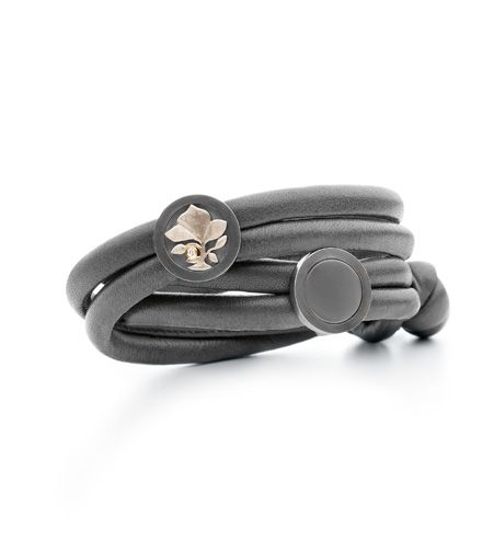 Ole Lynggaard Copenhagen Elephant Grey leather bracelet with matt onyx spot and silver, 18ct gold and diamond spot - Kennedy Jewellers