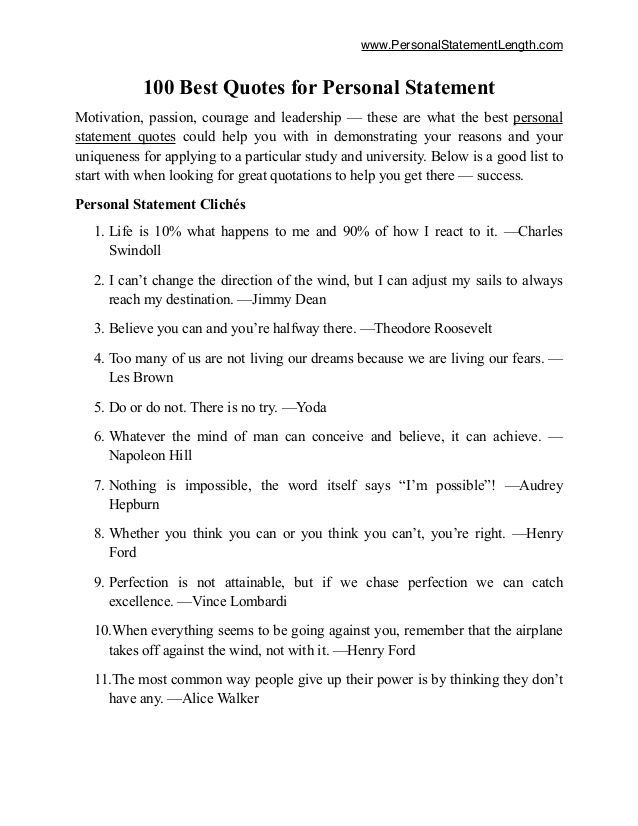 Www Personalstatementlength Com 100 Best Quote For Personal Statement Mo Grad School Medical Examples Year Up Essay