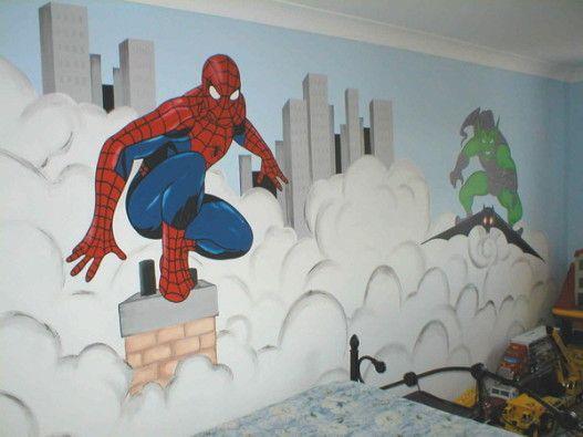 Bedroom silas bedroom spiderman mural kids spiderman spiderman