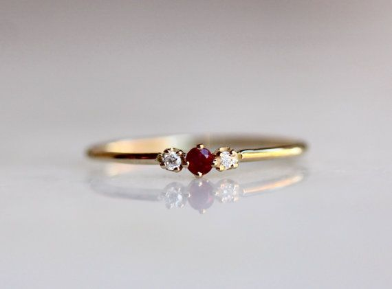 14k Ruby Diamond Ring, Ruby Gold Ring, July Birthstone, Red Stone, Tiny Ruby, Minimal Jewelry, Solid Gold, Ruby Stacking Ring, Rose, White
