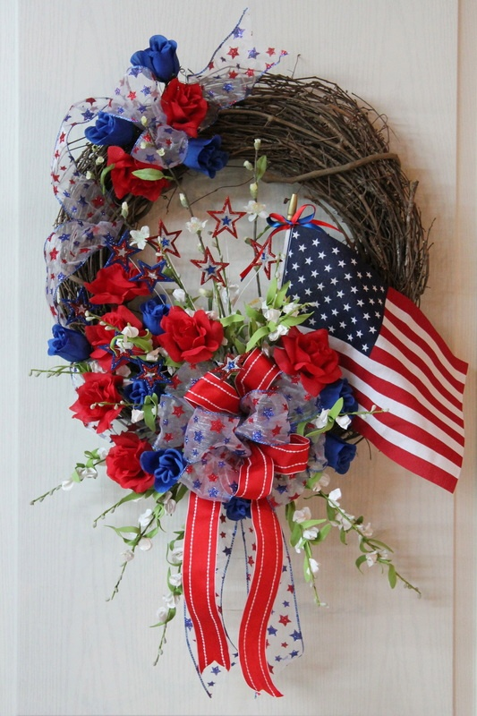 Red, White & Blue, American Flag, Roses, Stars, Memorial Day - Fourth of July Door Wreath by floralsfromhome