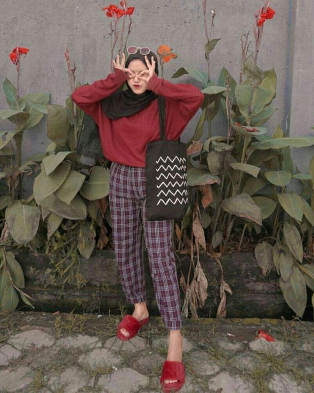 Ootd Baju Merah Hijab