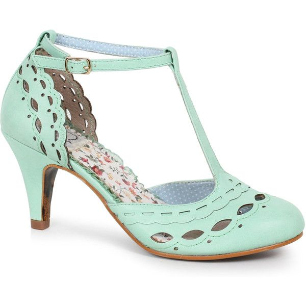 Bettie Page Mint Leatherette D-Orsay Cutout Raine T-Strap Pumps Shoes ($82) ❤ liked on Polyvore featuring shoes, pumps, high heel shoes, vintage shoes, vintage t strap pumps, cutout pumps and d'orsay shoes