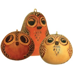 Hootie the Owl-Petite Gourd Ornament by Lucuma Designs #FairTuesday  Great set of darling ornaments. Carved so perfectly these little birdies will make great decorations for any occasion and make great gifts for anyone, especially bird-lovers.