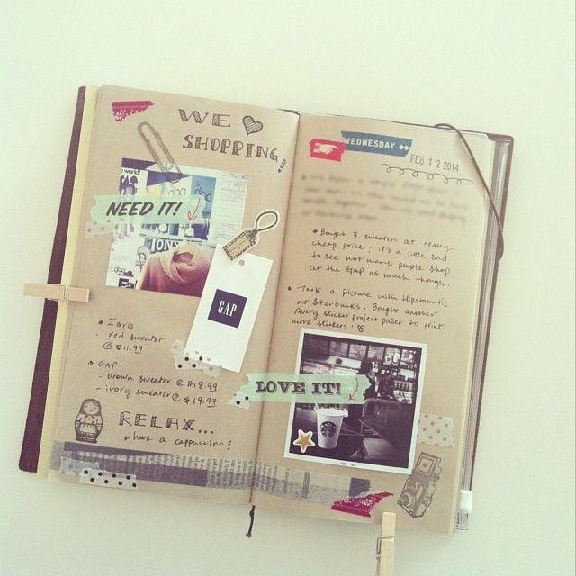 #travelersnotebook zó vind ik het leuk! Plakken en kort schrijven